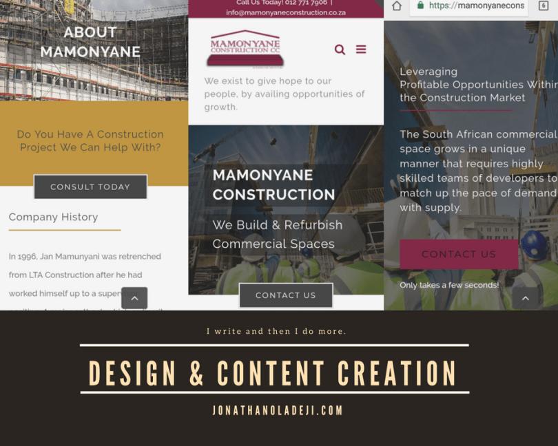webcontent job for mamonyane construction