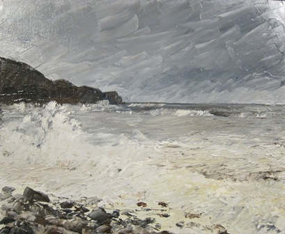 Storm at Sandsend, oil SOLD