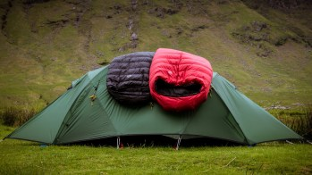 Scottish Highlands outdoor sleeping bag photo shoot (for PHD Mountain Software)