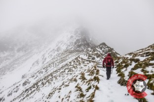 Graham ascending, just before reaching the trickiest section of Swirral Edge