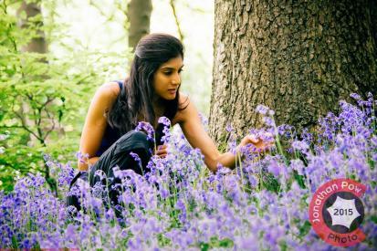 Manchester Photographer - Pooja Bijoor in amongst the bluebells in Ramsbottom, Lancashire