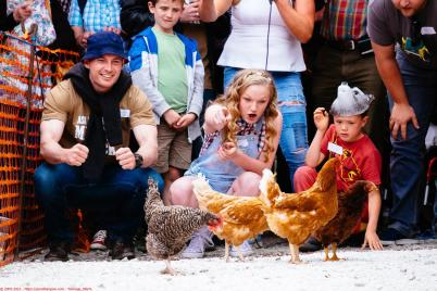 Charlotte Gibson (14 - centre) shouts encouragement to her hen Blossom