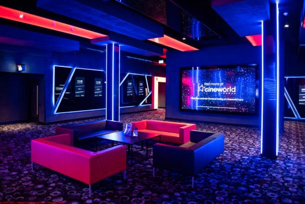 Dramatic neon lighting at Cinewolrd Leeds