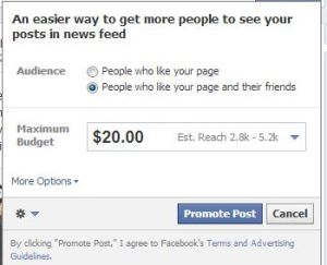 Facebook Sponsored story window