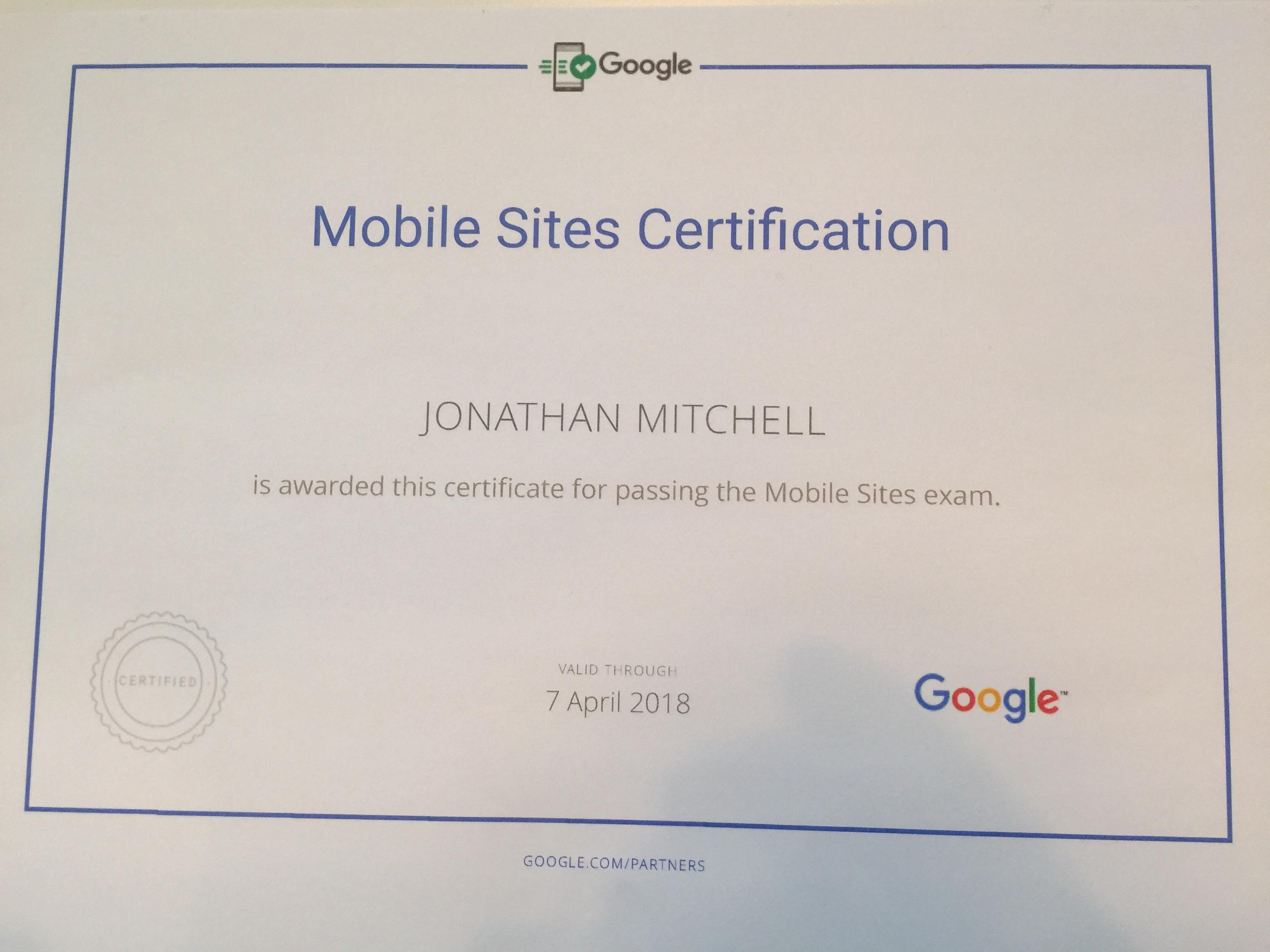 Google Partners Mobile Sites Certification
