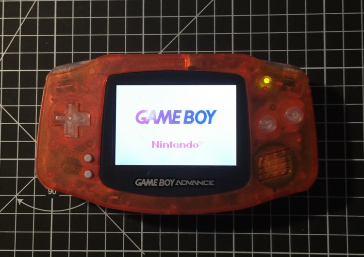 modified gba with backlit screen mod