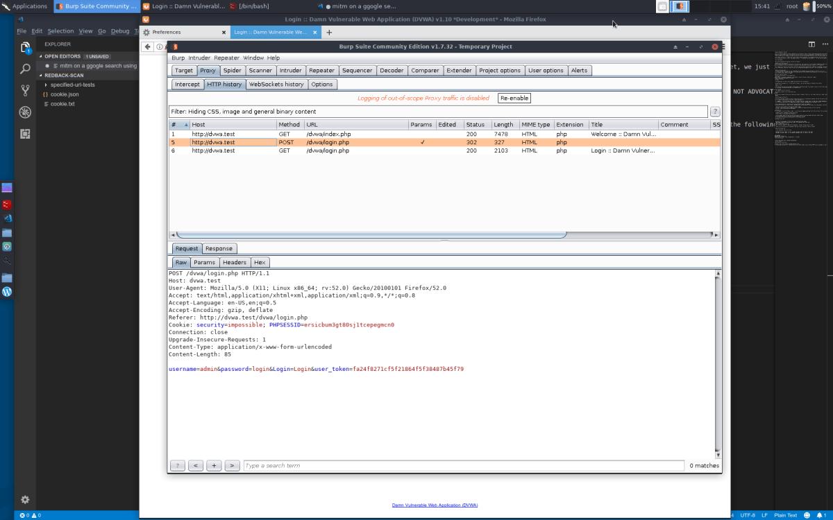 dvwa-login-page-parameter-intercept