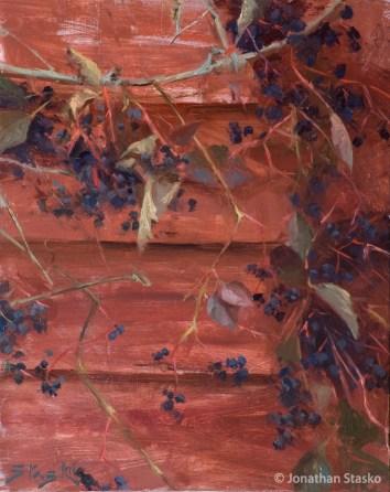 Barn Berries, oil on panel, 10x8