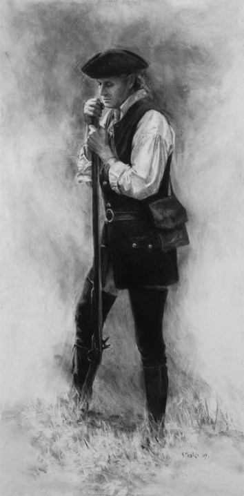 Militiaman, charcoal on panel, 30x15, SOLD