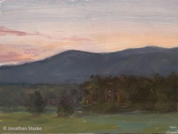 Sunset, oil on panel, 6x8