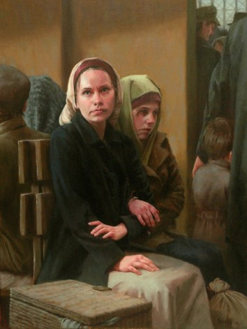Waiting: Sisters At Ellis Island, 1906, oil on linen, 36x27, SOLD