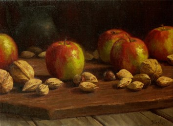 Nuts and Apples, oil on linen, 9x12, SOLD