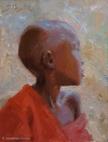 Glance, oil on panel, 8x6, Available