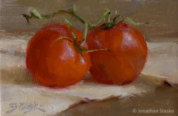 Tomatoes, oil on panel, 4x6, SOLD
