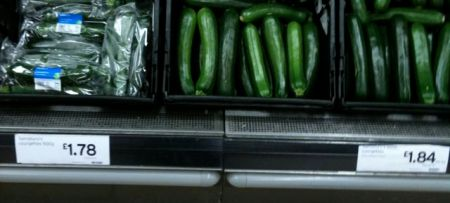 Picture of courgettes and price tickets in Sainsburys in 2010.