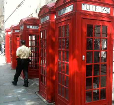 Picture of telephone boxes opposite the Royal Opera House, Covent Garden, London