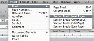 Putting a landscape page into a portrait document in Word: use a Section Break