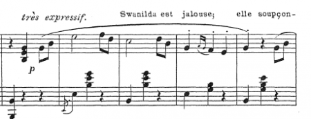 Swanilda's famous waltz. The first harmonic change comes only at the very end of the phrase.
