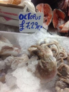 An octopus in the market in Tooting Broadway.