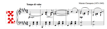 Screen grab of the sheet music of Grande valse by Tcherepnin
