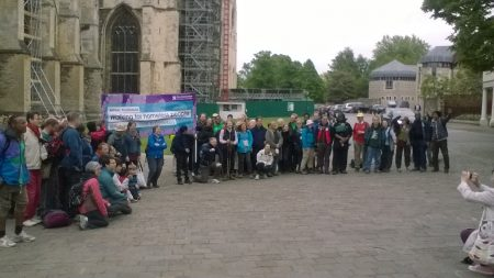 Walk to Canterbury 2016: picture of the walkers outside Canterbury Cathedral