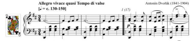 Screen grab of piano score of Prague Waltzes by Dvořák