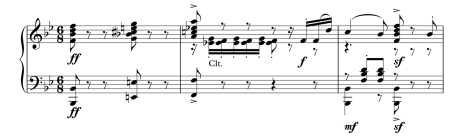 Part of the piano score of Drigo's Pygmalion variation, used in Le Corsaire