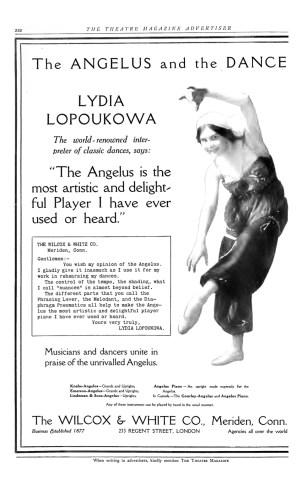 Lydia Lopokova advertises the Angelus player piano