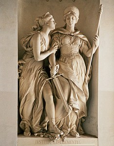 Clementia with her sister goddess, Justice