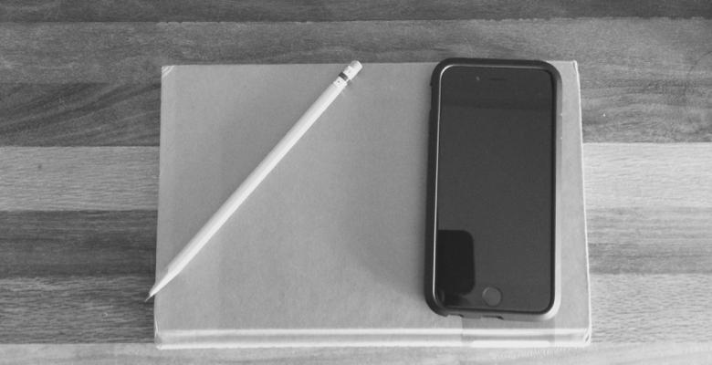 pencil, book, phone
