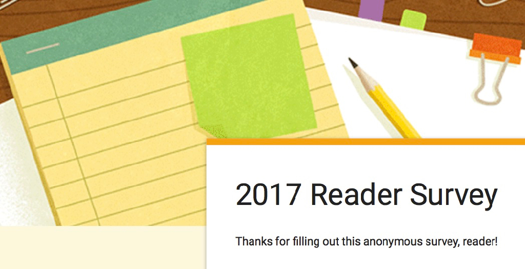 2017 reader survey screenshot