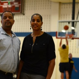 APG suicide prevention program manager Lamont Coger and Diana Reeves, suicide prevention manager for the U.S. Army Test and Evaluation Command, helped organize the first Hoops for Heart 3-on-3 basketball tournament for suicide prevention awareness Wednesday, Sept. 13, 2017.
