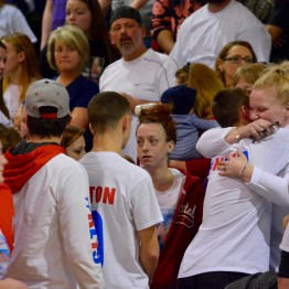 Supporters line up prior to the start of the Lansdowne High School boys varsity basketball game Jan. 31 to hug Kerry Linton, whose daughter, Kayla, a senior at the school, died on Jan. 28.