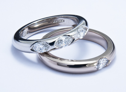 Eternity Style White Gold And Platinum Rings End Set With
