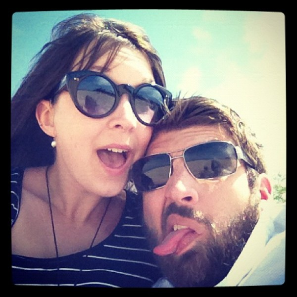 funny picture of Christopher and Abby at the beach
