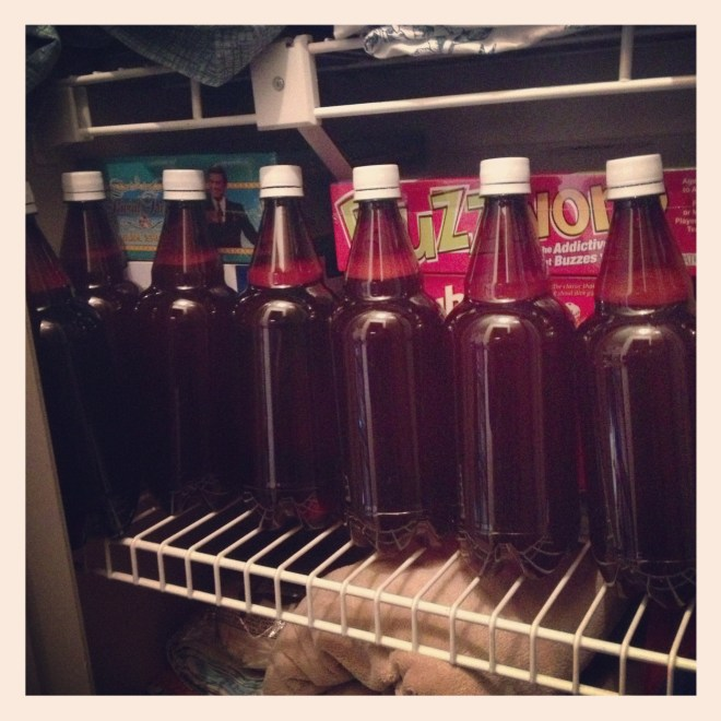Home brew bottles conditioning in a closet