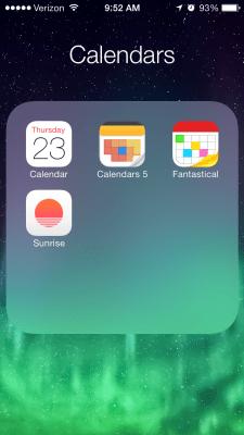 iPhone screenshot of calendar apps