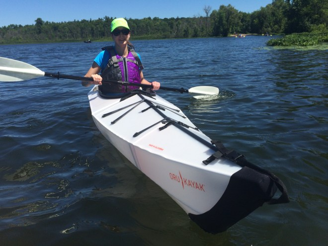 Photo of Abby Anderson Jones in Oru Kayak.