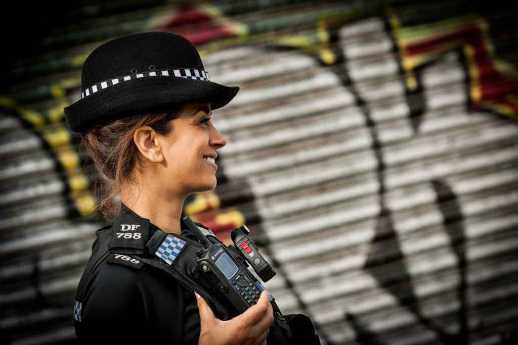 Sussex police officer on patrol in Brighton