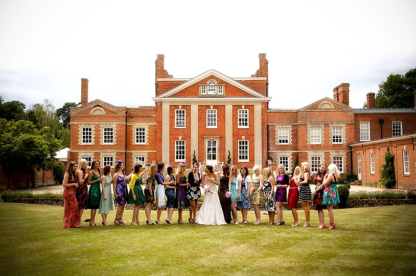 Fun wedding photography, all the girls, Warbrook House