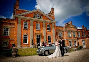 Bride and Father arriving at Warbrook House, Classic Wedding Car
