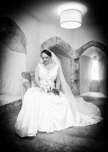 Bride in The Gate House at Farnham Castle