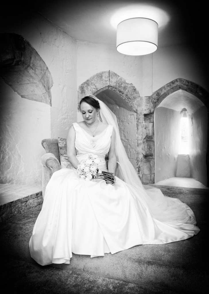 Bride in The Gate House at Farnham Castle