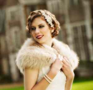Bride in vintage clothing at Loseley Park