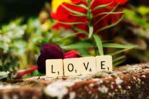 Scrabble tiles spelling love for a wedding