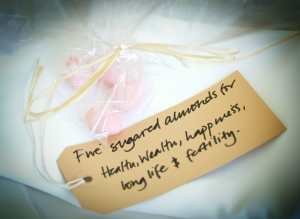 5 sugared almonds, traditional wedding favours
