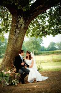 Bride and Groom sitting under an oak tree
