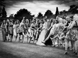 Fun wedding group shots with the girls at Warbrook Park