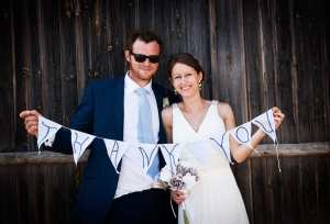 Bride and Groom at Mellow Farm Barn, Dockenfield