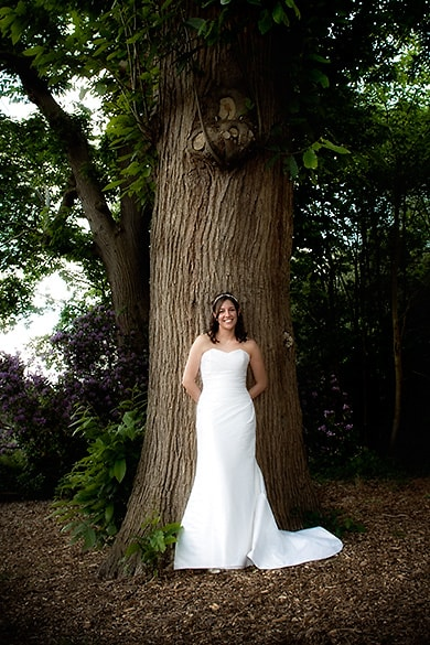 Bride in woodland, contemporary bride